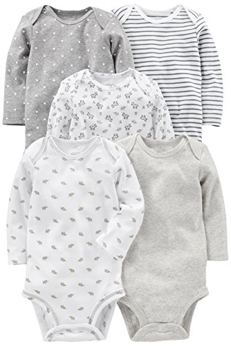 Simple Joys by Carter's Baby 5-Pack Neutral Long-Sleeve Bodysuit, Grey/White, 0-3 Months