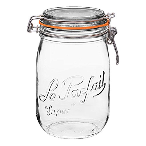 Le Parfait Super Jar - 1L French Glass Canning Jar w/Round Body, Airtight Rubber Seal & Glass Lid,...