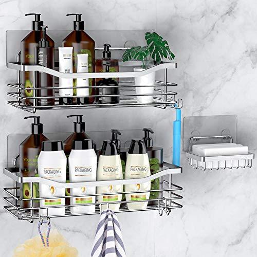 Orimade Shower Caddy Basket Soap Dish Holder Shelf with 5 Hooks Bathroom Organizer Shelf Kitchen...