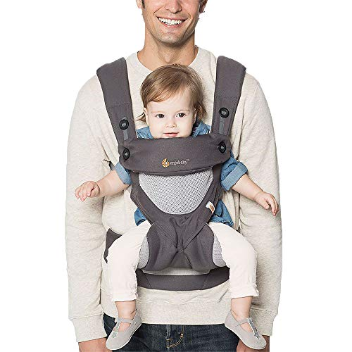 Ergobaby 360 All-Position Baby Carrier with Lumbar Support and Cool Air Mesh (12-45 Pounds), Carbon...