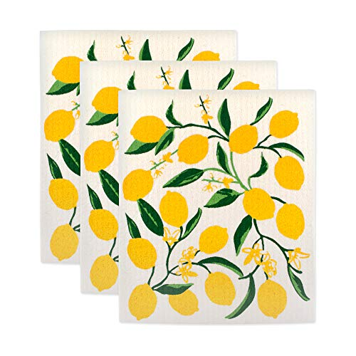 DII Swedish Dishcloth Set Cleaning Collection, 7.75 x 6.75, Lemons 3 Count