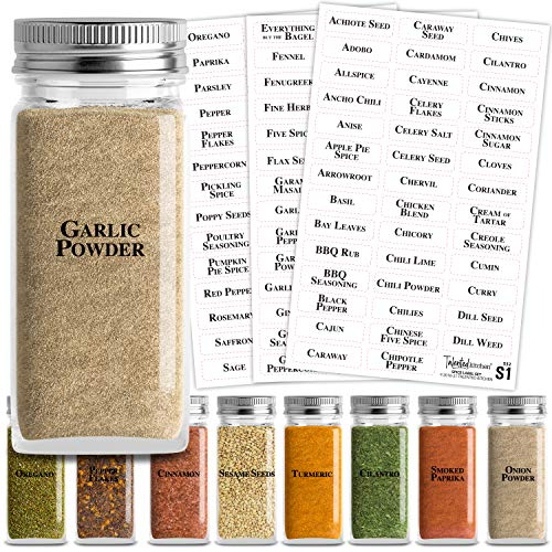 Talented Kitchen Clear Spice Labels - 125 Preprinted Labels: 121 Spice & Herbs Names + 4 Blank...
