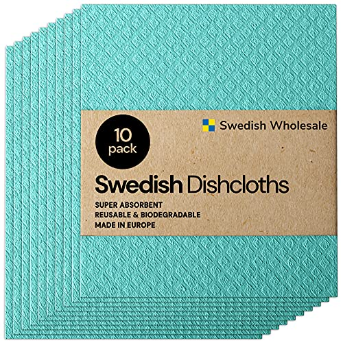 Swedish Wholesale Swedish Dish Cloths - Pack of 10, Reusable, Absorbent Hand Towels for Kitchen,...