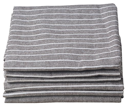 SINLAND Linen Napkins Oversized Dinner Napkins Tailored with Mitered Corners Light Brown with White...
