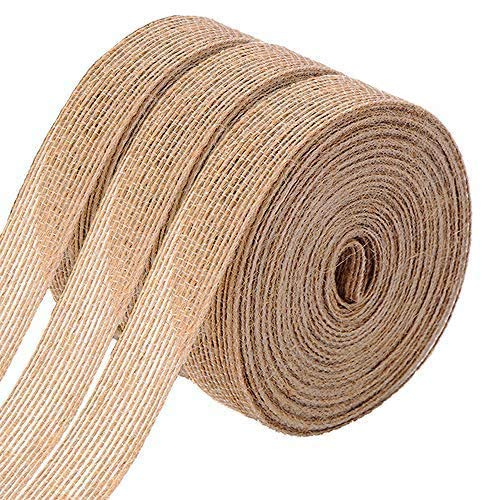 FOLAI 3 Rolls of Natural Burlap Fabric with Beautiful Burlap Ribbon Wedding Event Party and Home...