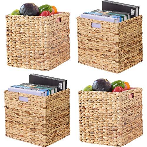 VK Living Foldable Handwoven Water Hyacinth Storage Baskets Wicker Cube Baskets Rectangular Laundry...