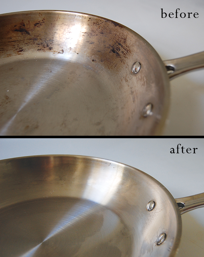 how to clean burnt stainless steel pots and pans a clean bee. Black Bedroom Furniture Sets. Home Design Ideas