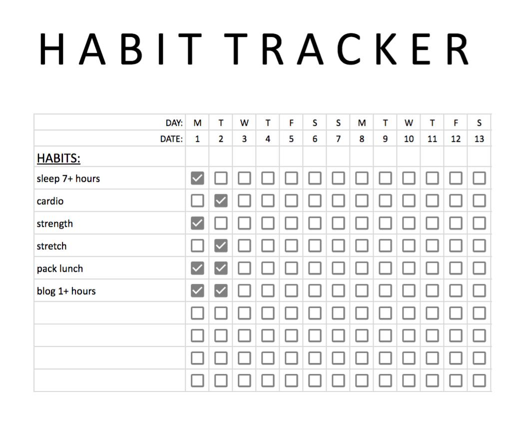 Accomplish your goals using this habit tracker!