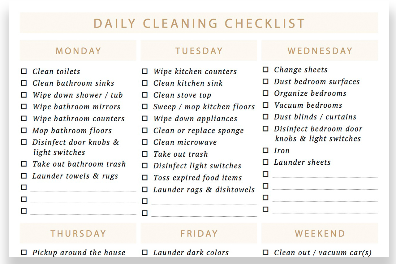 Daily Cleaning Checklist