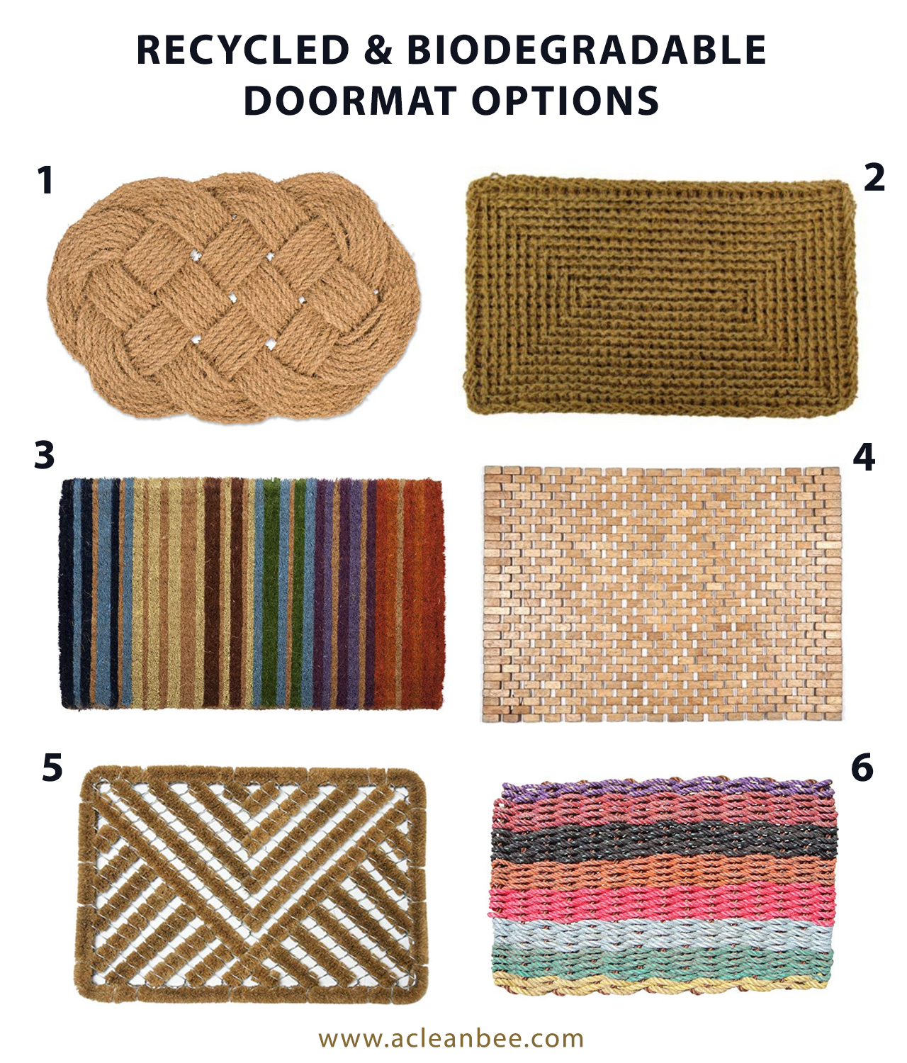 Recycled and biodegradable doormat options
