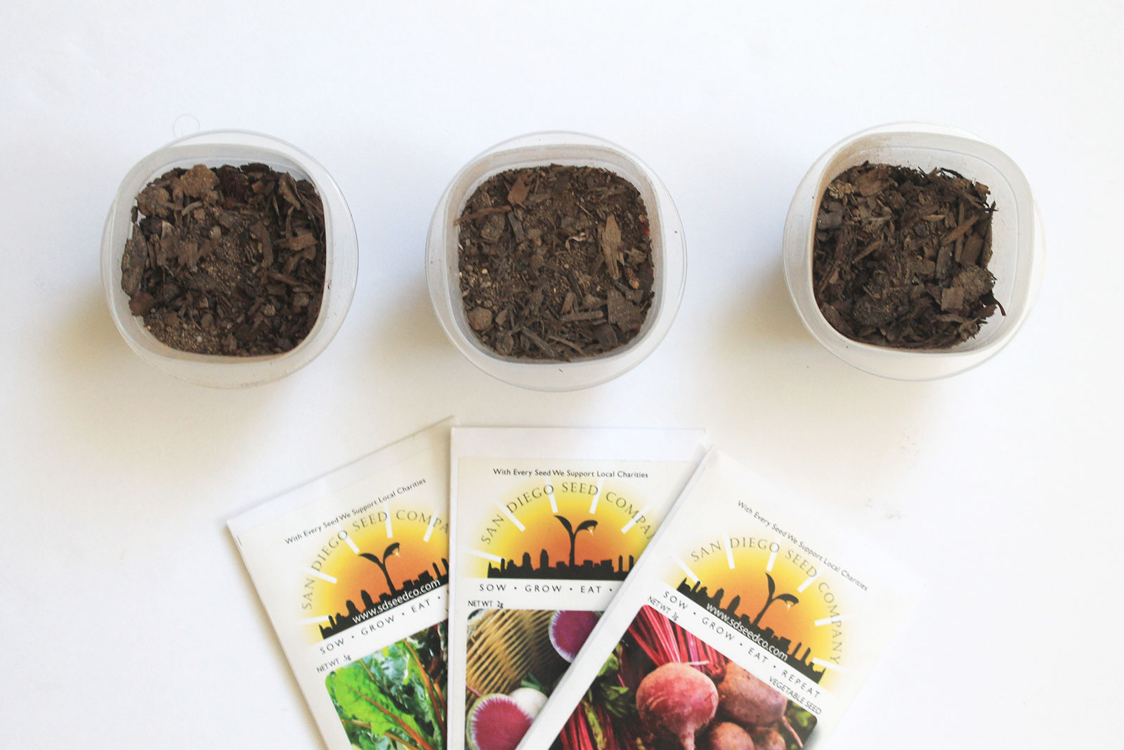 Repurpose plastic containers to store seed starters