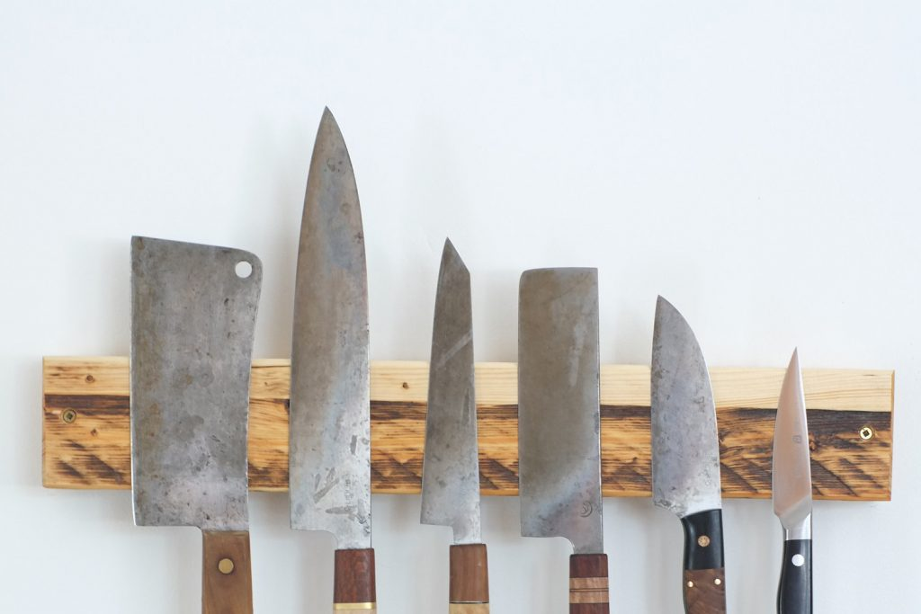 Reclaimed wood wall mounted knife strip