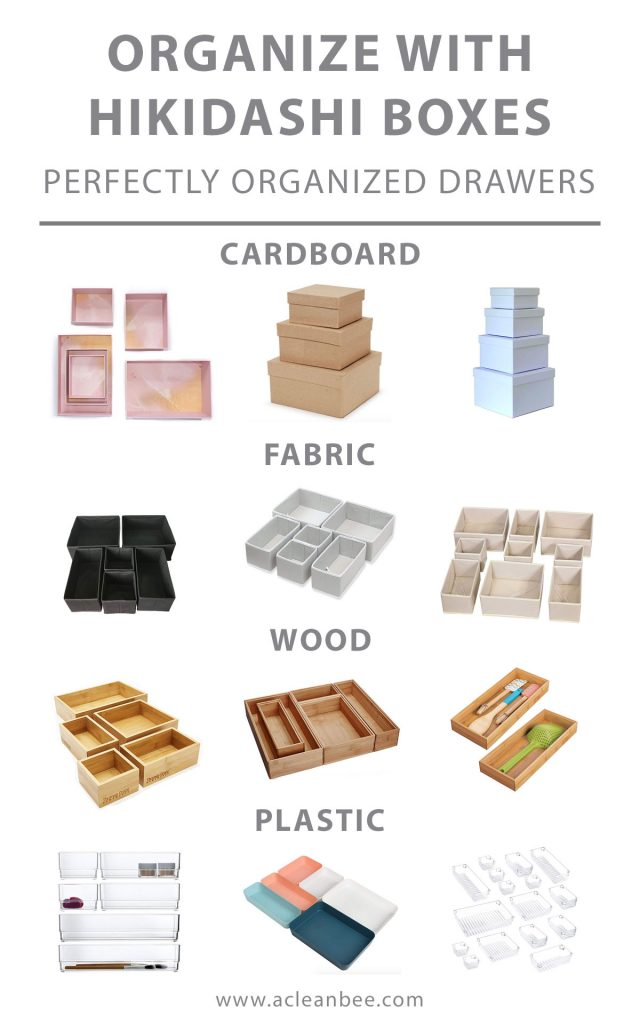 Organize your drawers using hikidashi boxes. Choose from traditional hikidashi boxes made from cardboard, or non-traditional options made from fabric, wood, or plastic. Organize drawers in your kitchen, bathroom, or closet dresser.