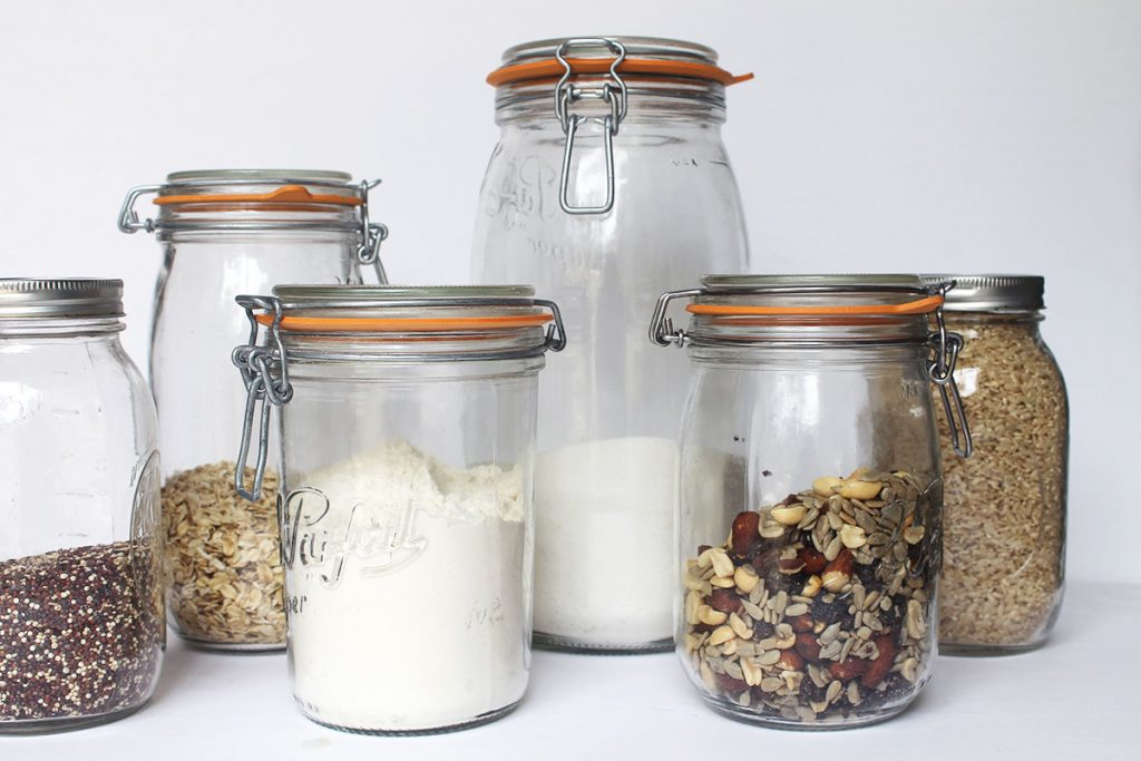Glass pantry jars for food storage and pantry organization