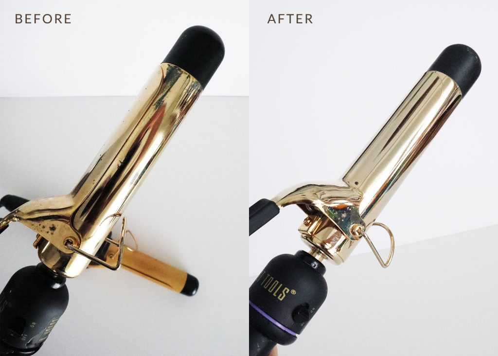 How to clean a curling iron using rubbing alcohol, baking soda, and water